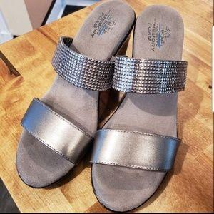 Life Stride Silver/Faux Metal Platform Sandals